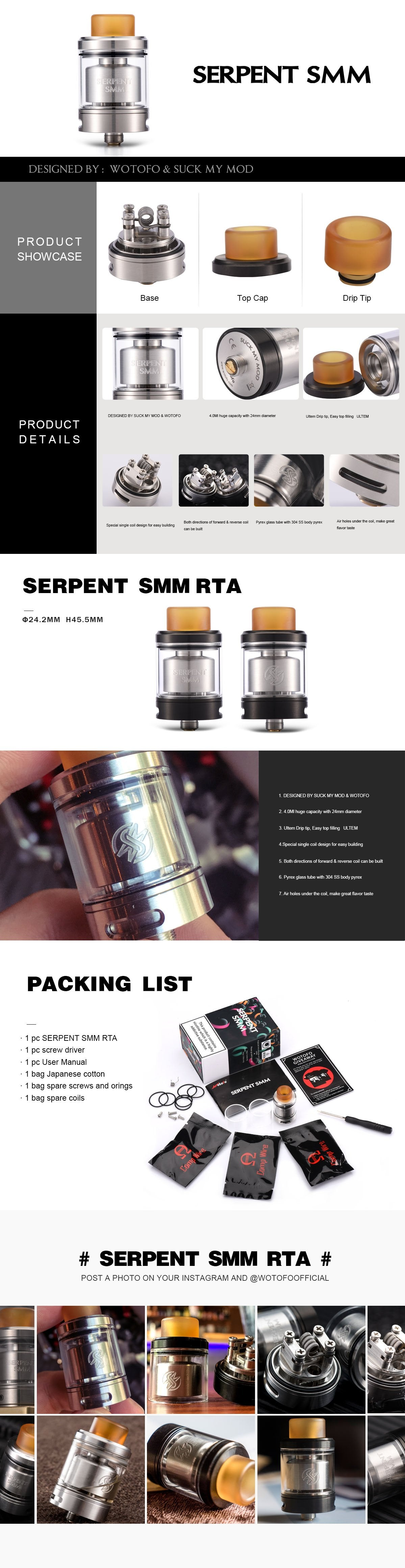 Wotofo Serpent SMM RTA Features