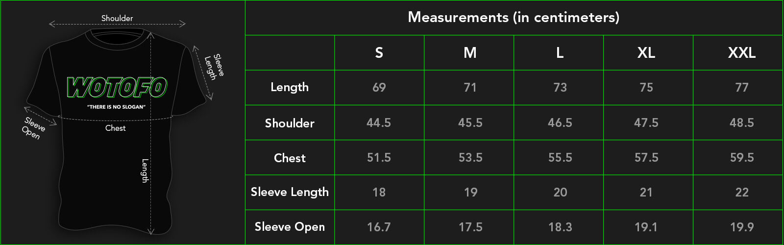 Vape T-Shirt Size Guide in centimeters
