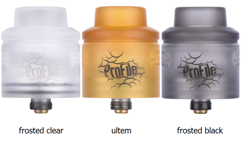 profile rda frosted clear, black and ultem