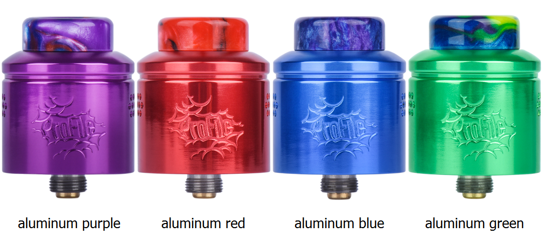 wotofo profile rda aluminum red, purple, blue and green