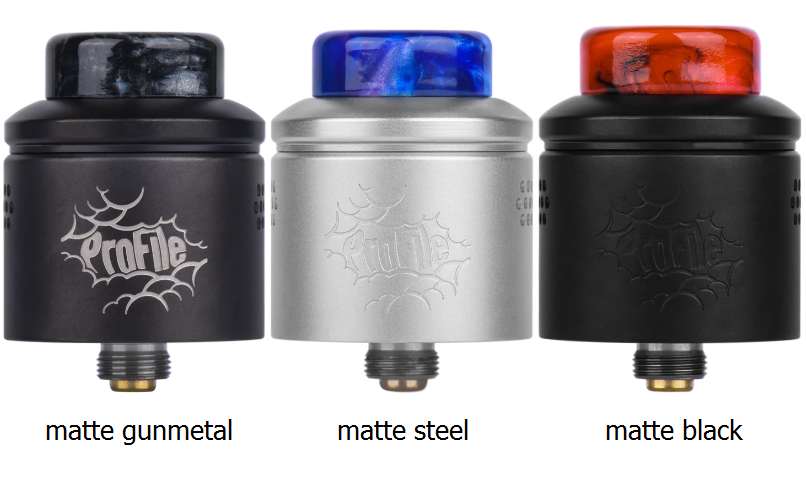 profile rda matte gunmetal, steel and black