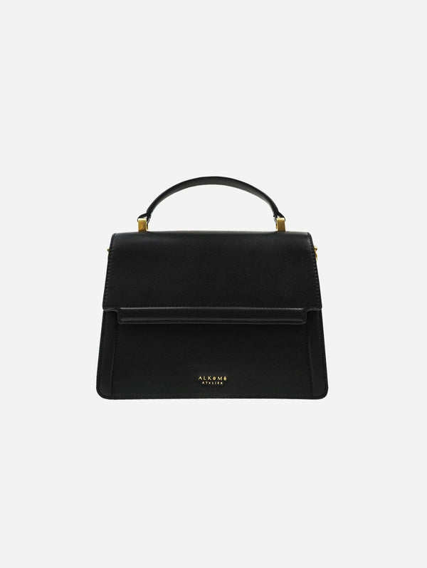 Alkeme Atelier FIRE Vegan Leather Flap Crossbody Bag | Black