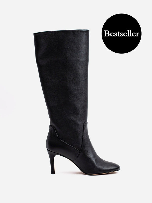Allkind Chloe Vegan Leather Heeled Long Knee Boots | Black