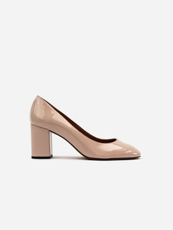 Allkind Kate Vegan Patent Leather Block Heel Court Shoe | Blush Nude