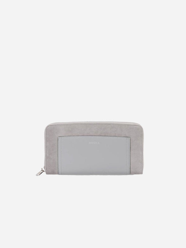 ASHOKA Paris Companion Oxymore Vegan Leather & Microsuede Wallet | Grey Blue