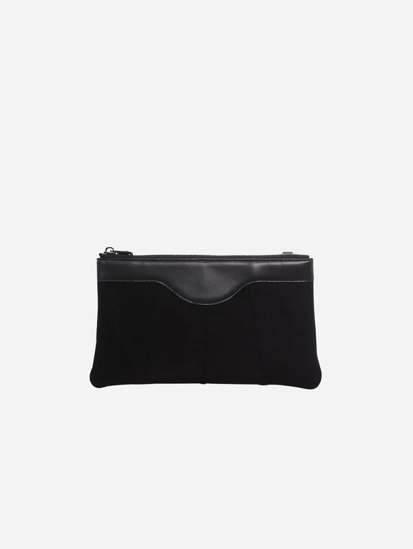ASHOKA Paris Niki Oxymore Vegan Leather & Microsuede Pouch Bag | Black