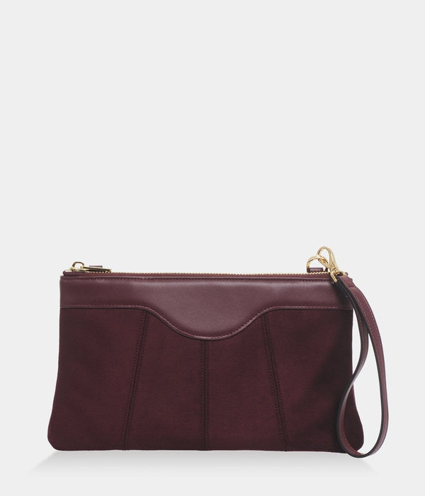 ASHOKA Paris Niki Oxymore Vegan Leather & Microsuede Pouch Bag | Burgundy