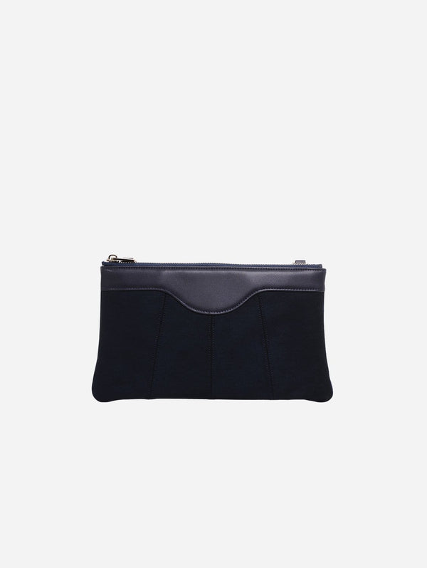 ASHOKA Paris Niki Oxymore Vegan Leather & Microsuede Pouch Bag | Navy Blue