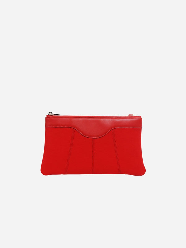 ASHOKA Paris Niki Oxymore Vegan Leather & Microsuede Pouch Bag | Red