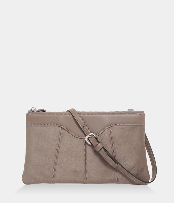 ASHOKA Paris Niki Oxymore Vegan Leather & Microsuede Pouch Bag | Taupe
