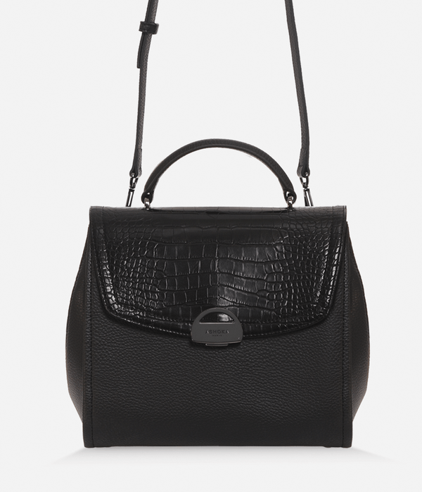 ASHOKA Paris Paname Croco & Apple Skin Vegan Leather Handbag | Black