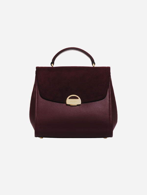 ASHOKA Paris Paname Oxymore Apple Skin Vegan Leather & Microsuede Handbag | Bordeaux