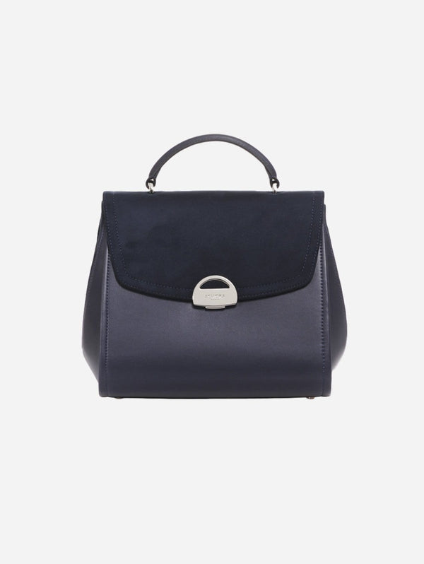 ASHOKA Paris Paname Oxymore Vegan Leather & Microsuede Handbag | Navy Blue