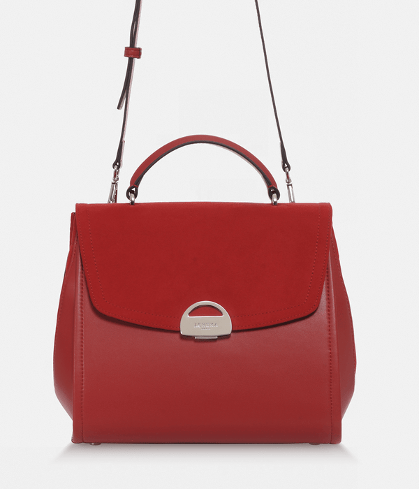 ASHOKA Paris Paname Oxymore Vegan Leather & Microsuede Handbag | Red
