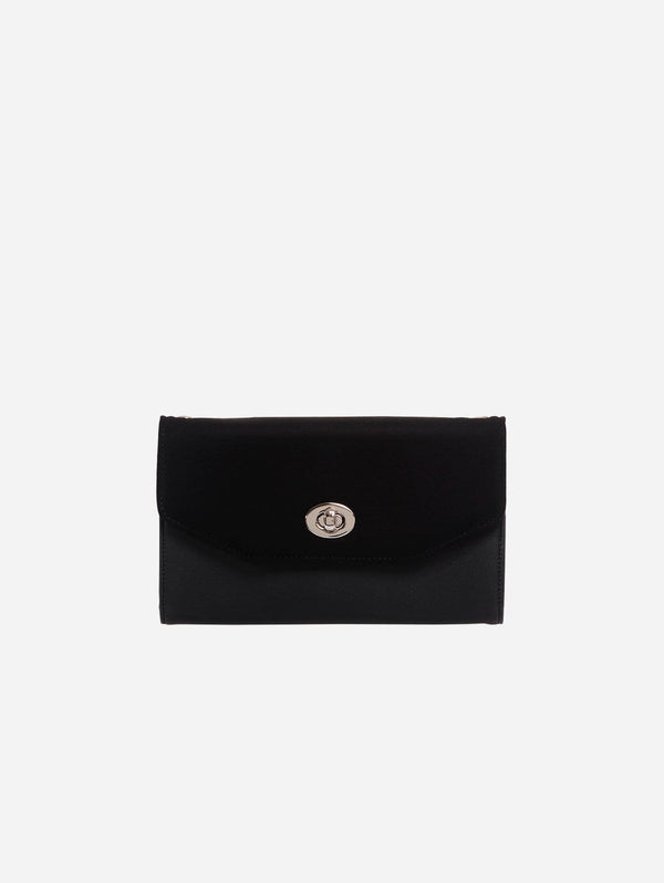 ASHOKA Paris Piaf Oxymore Vegan Leather & Microsuede Clutch Bag | Black