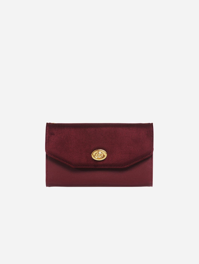 ASHOKA Paris Piaf Oxymore Vegan Leather & Microsuede Clutch Bag | Burgundy