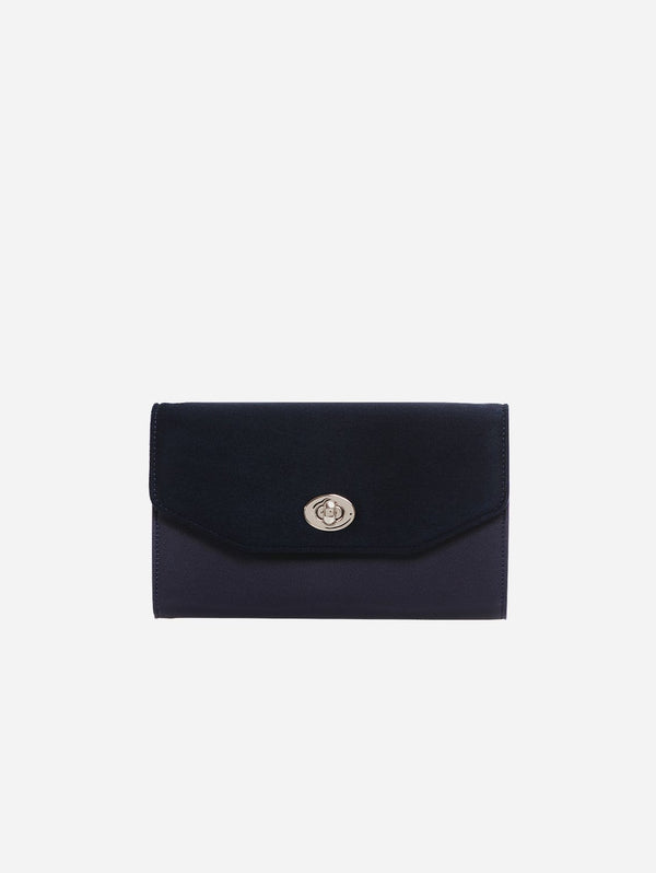 ASHOKA Paris Piaf Oxymore Vegan Leather & Microsuede Clutch Bag | Navy Blue