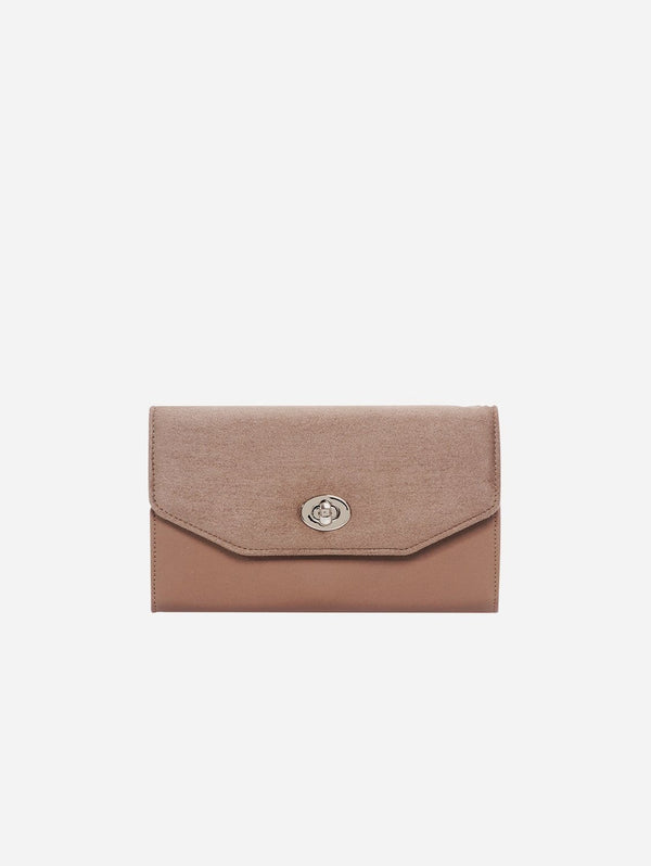 ASHOKA Paris Piaf Oxymore Vegan Leather & Microsuede Clutch Bag | Taupe