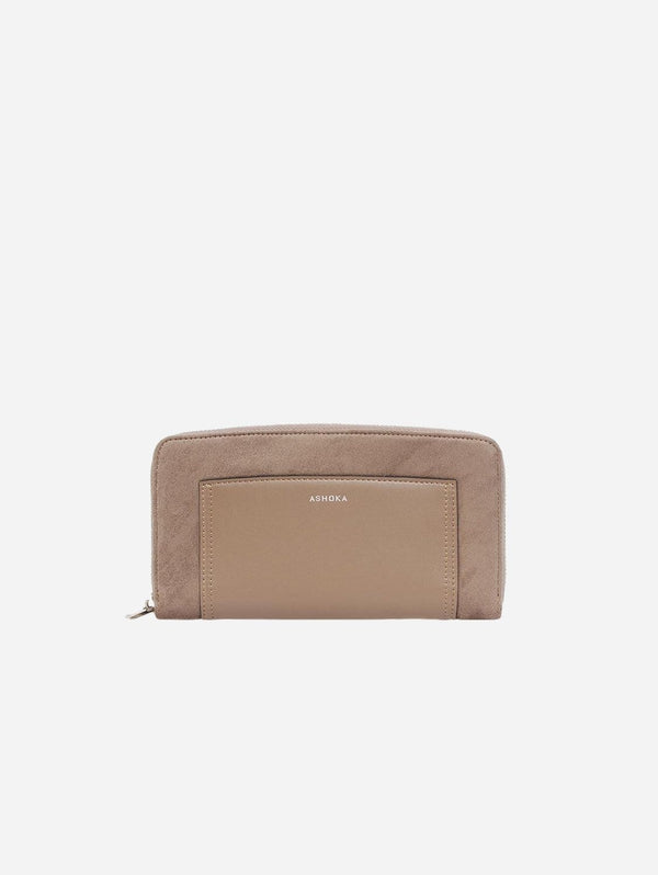 ASHOKA Paris Vegan Eco-Nappa Leather & Microsuede Oxymore Companion Wallet | Taupe