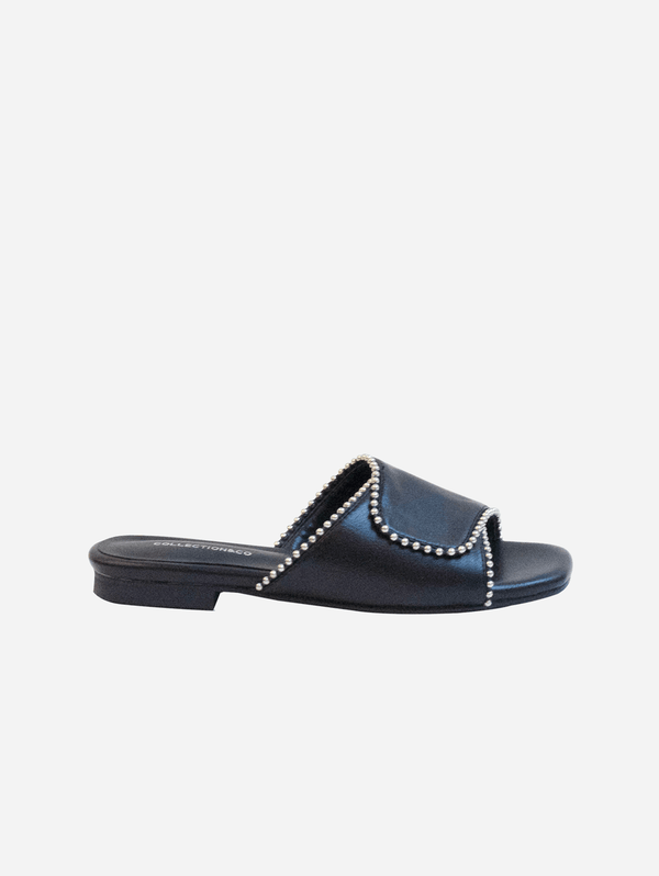 Collection and Co Elia Vegan Leather Cross Over Detailed Sandal | Black