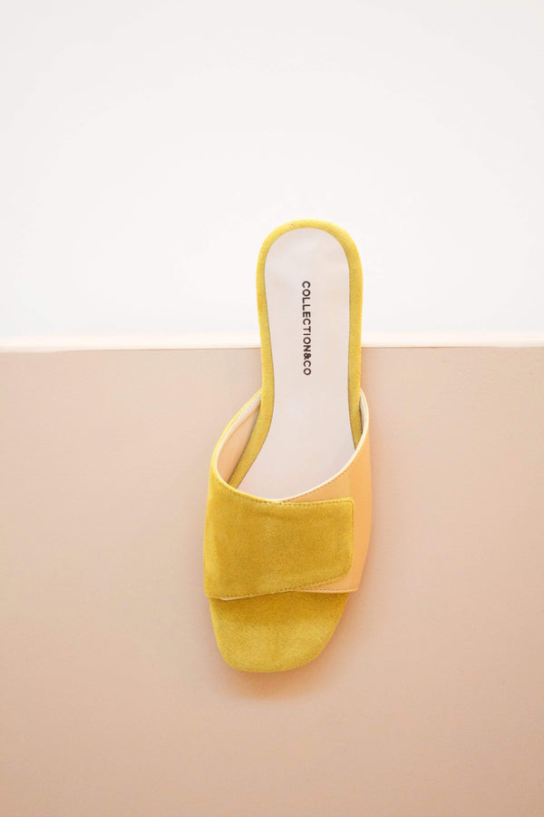 Collection and Co Elia Vegan Leather Cross Over Sandal | Two-Tone Yellow