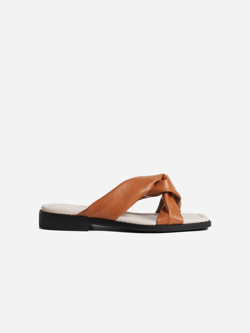 Collection and Co Filia Up-Cycled Vegan Leather Slip-On Sandal | Tan