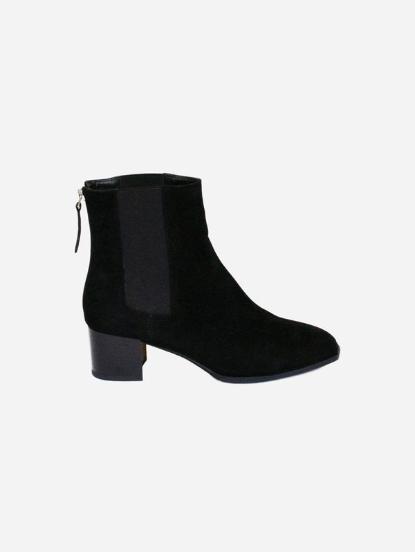 Collection and Co Lila Vegan Suede Block Heel Chelsea Boot | Black
