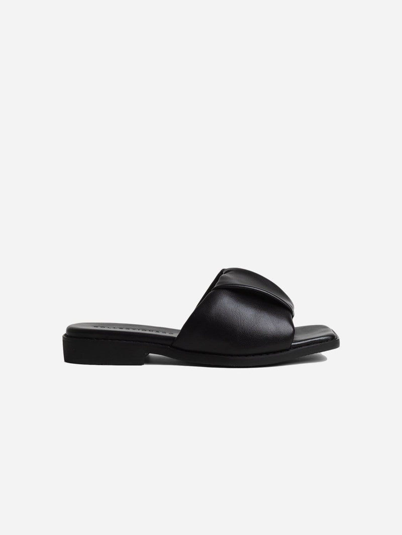 Collection and Co Nina Up-Cycled Vegan Leather Ruched Sandal | Black