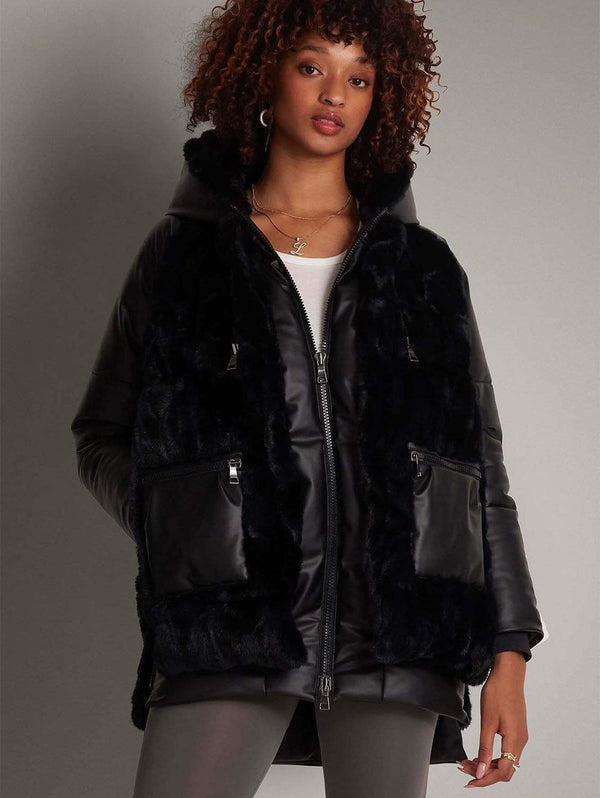 CULTHREAD Oxford Luxury Faux Fur & Insulated Vegan Leather Hybrid Jacket