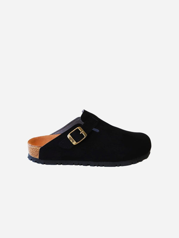 Good Guys Don't Wear Leather Gena Vegan Suede Slide-On Sandal | Black