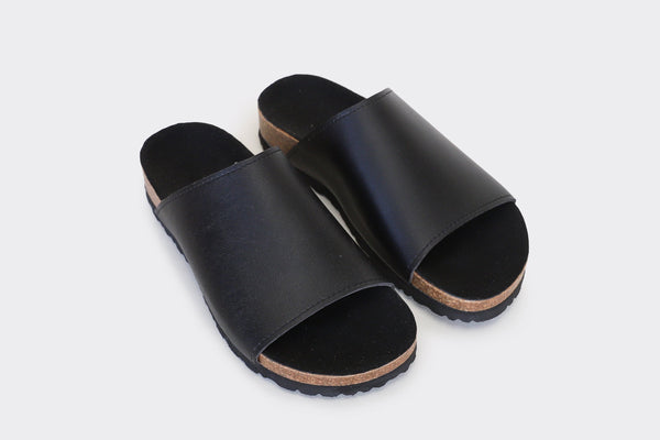 Good Guys Don't Wear Leather Jenny Vegan Leather Slide-on Sandals | Black