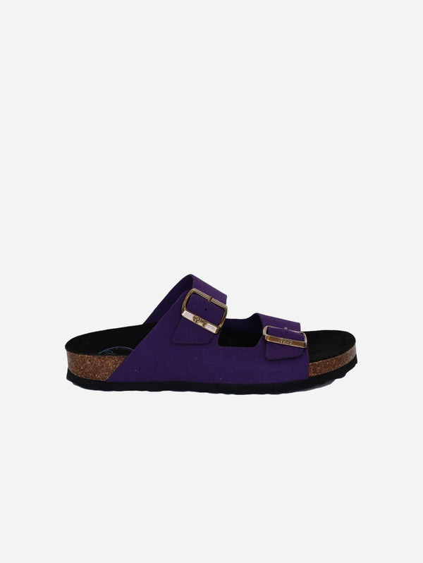 Good Guys Don't Wear Leather Juno Vegan Suede Buckled Slide-On Sandal | Purple