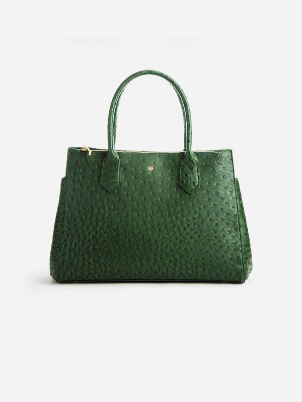GUNAS New York Koko Vegan Embossed Leather Satchel | Dark Green Dark Green