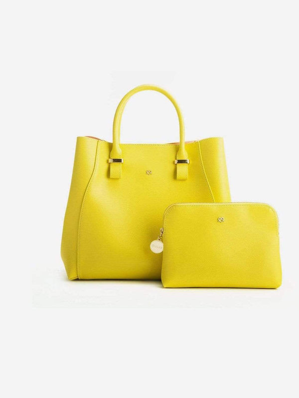 GUNAS New York Jane Vegan Leather Satchel | Lemon Yellow Lemon Yellow