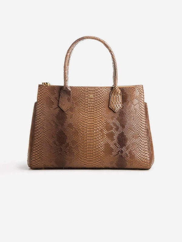 GUNAS New York Koko Vegan Embossed Leather Satchel | Tan Snake Tan Snake