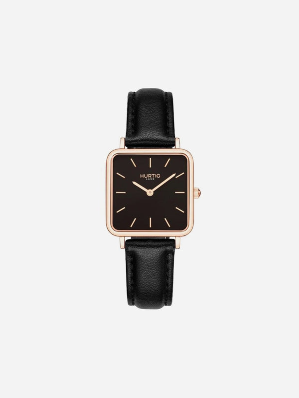 Hurtig Lane Neliö Square Watch Rose Gold/Black | Multiple Colour Vegan Straps Black