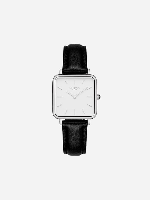 Hurtig Lane Neliö Square Watch Silver/White | Multiple Colour Vegan Straps Black