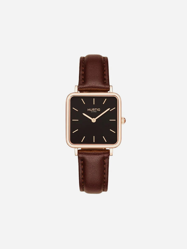 Hurtig Lane Neliö Square Watch Rose Gold/Black | Multiple Colour Vegan Straps Chestnut Brown
