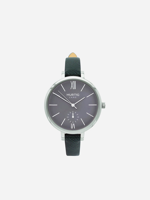 Hurtig Lane Amalfi Petite Watch Silver/Grey | Multiple Colour Vegan Straps Green