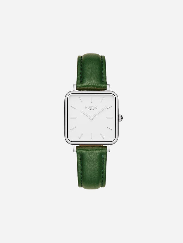 Hurtig Lane Neliö Square Watch Silver/White | Multiple Colour Vegan Straps Green