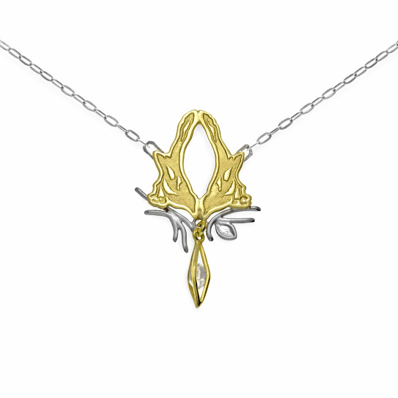 JULIA THOMPSON JEWELLERY Fairtrade Yellow Gold Magpie Herkimer Necklace | 18ct