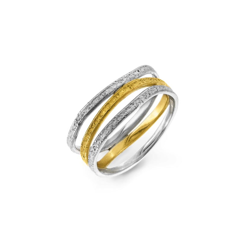 JULIA THOMPSON JEWELLERY Recycled 925 Silver & Fairtrade Gold Triple Nest Ring J