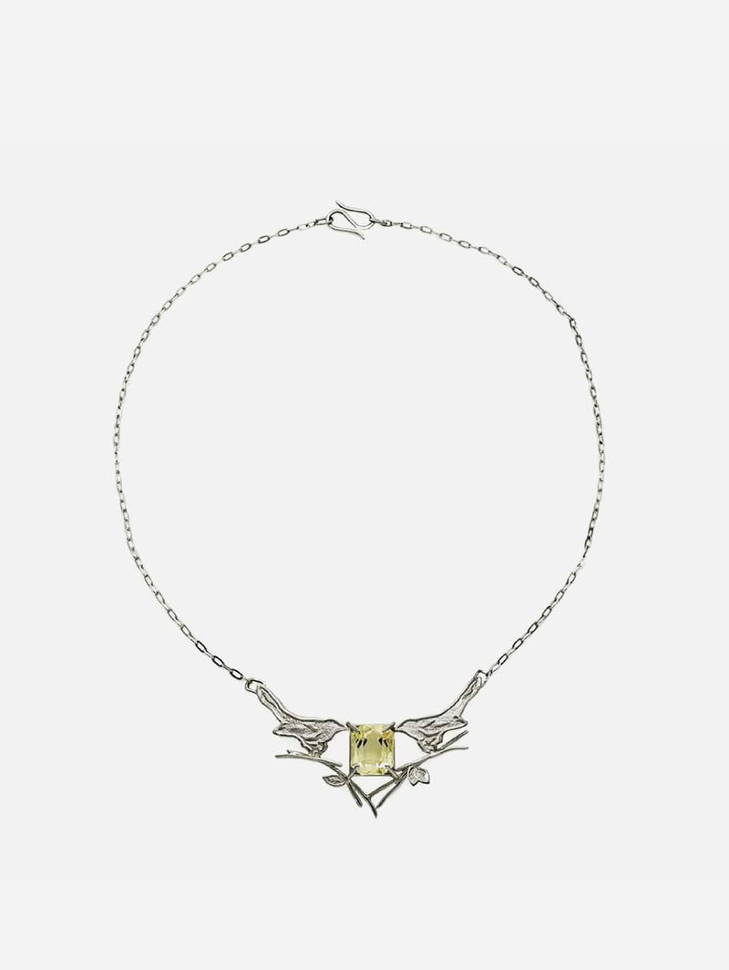 JULIA THOMPSON JEWELLERY Recycled 925 Sterling Silver Magpie & Citrine Necklace