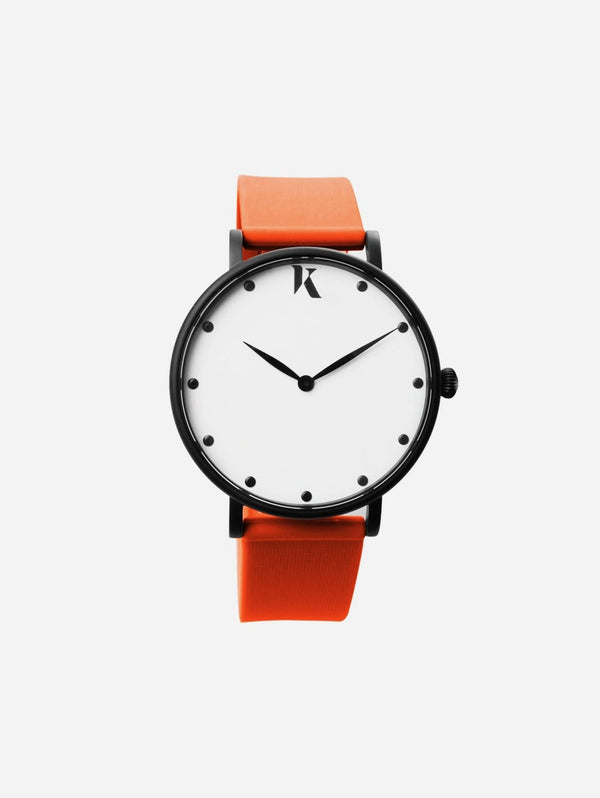 Ksana Neon Orange Vegan Strap Watch | 38mm