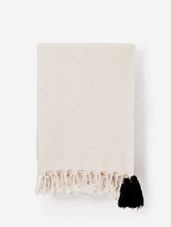 Lüks Linen Pom Pom Cotton Weave Blanket | Cream