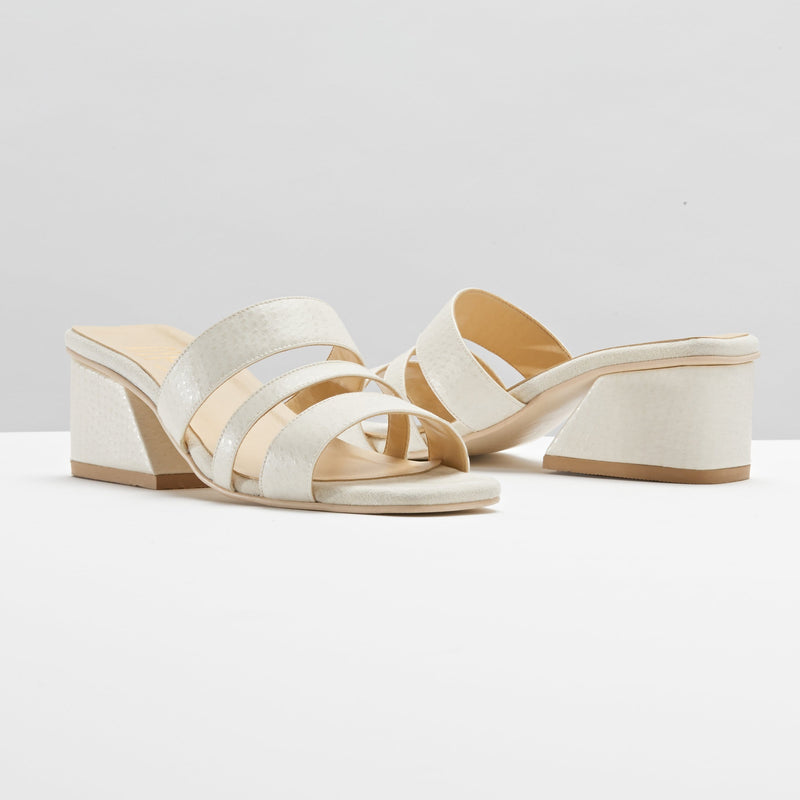 Mesa Hayes Recycled Vegan Ostrich Leather Mule | Cream