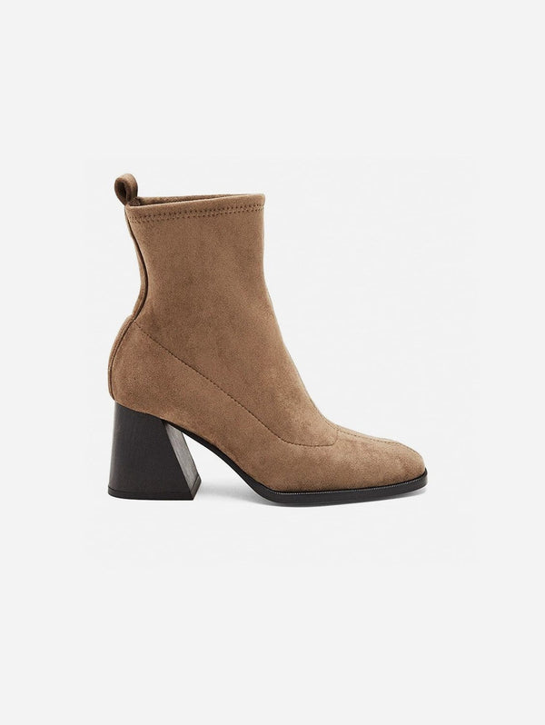 Mireia Playà Gabriela Vegan Suede Sock Ankle Boot | Taupe