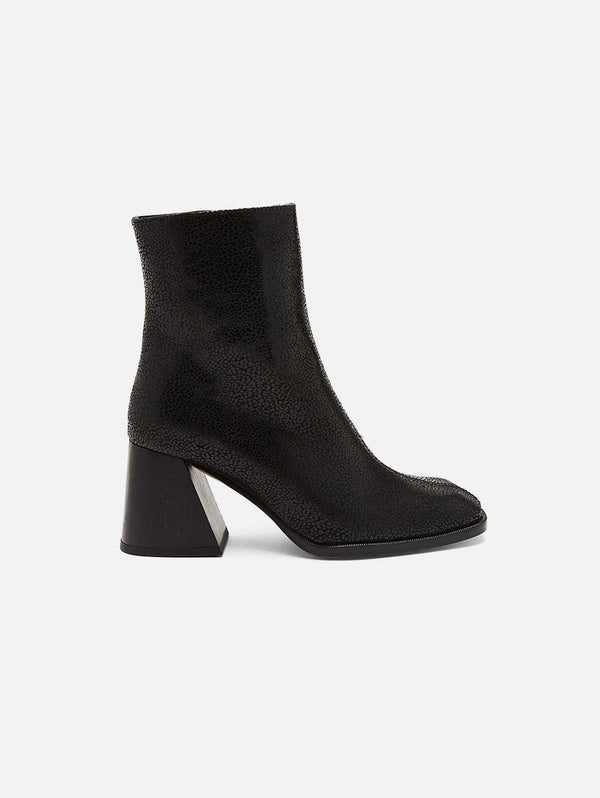Mireia Playà Georgina Recycled Polyester Vegan Suede Ankle Boot | Black Leopard