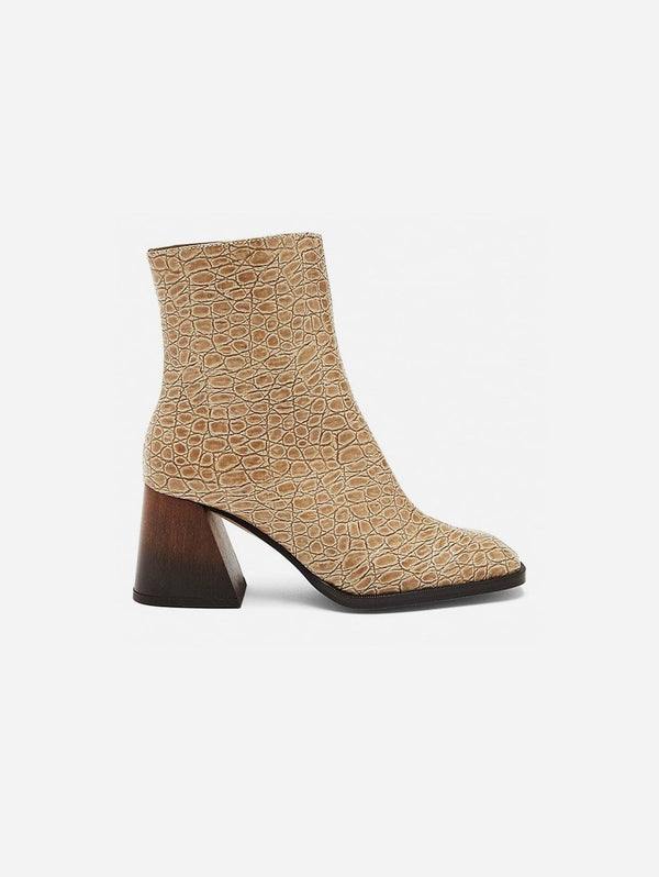 Mireia Playà Georgina Vegan Patent Leather Ankle Boot | Beige Croc