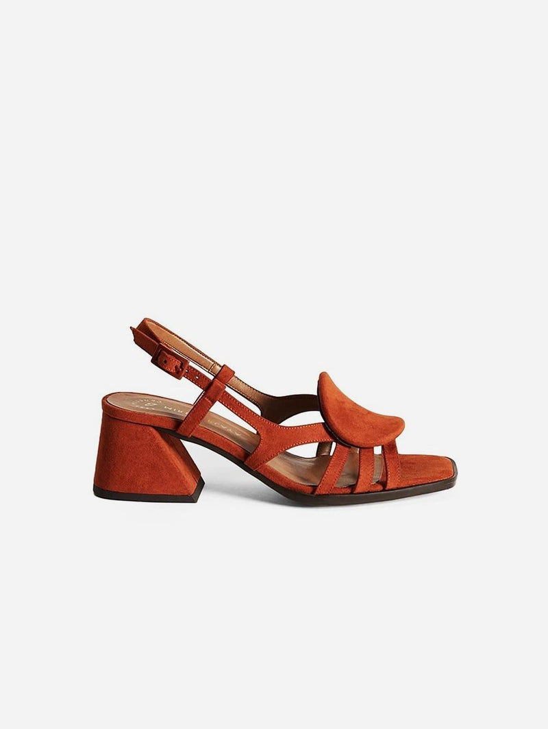 Mireia Playà Hiedra Recycled Polyester Vegan Suede Heeled Sandal | Brick Red